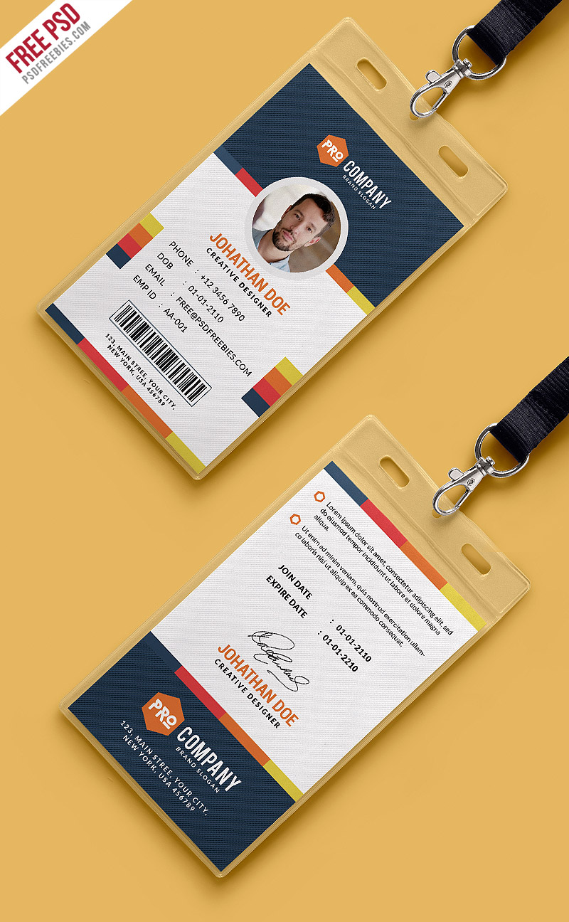 Creative office identity card template psd for Department scorecard template