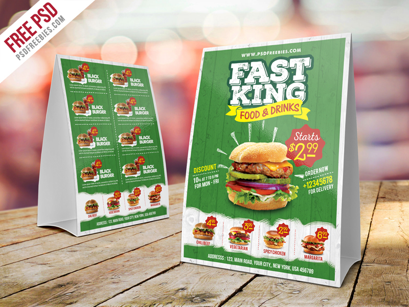 Fast food menu table tent template psd for Table burger