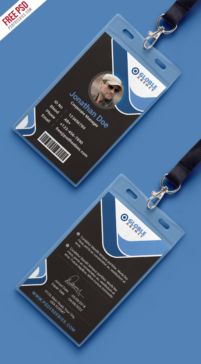 Multipurpose dark office id card free psd template for Best home office video cards