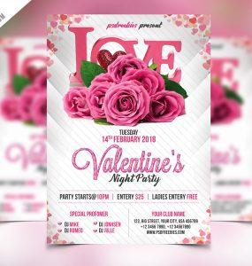 Premium Valentines Party Flyer PSD Template