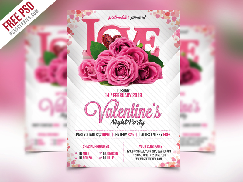 Premium Valentines Party Flyer PSD Template