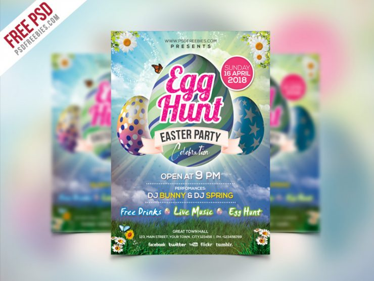 Easter Party Invitation Flyer Template PSD