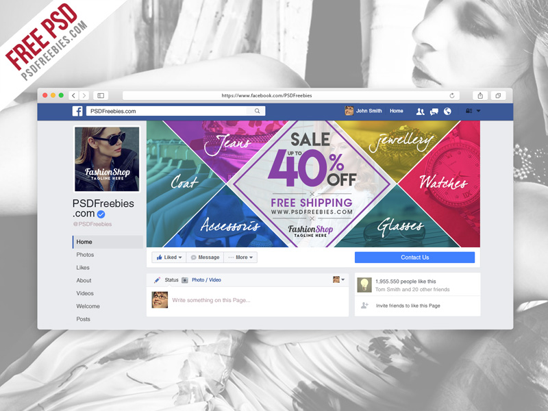 Facebook Cover Photo For Fashion Sale PSD