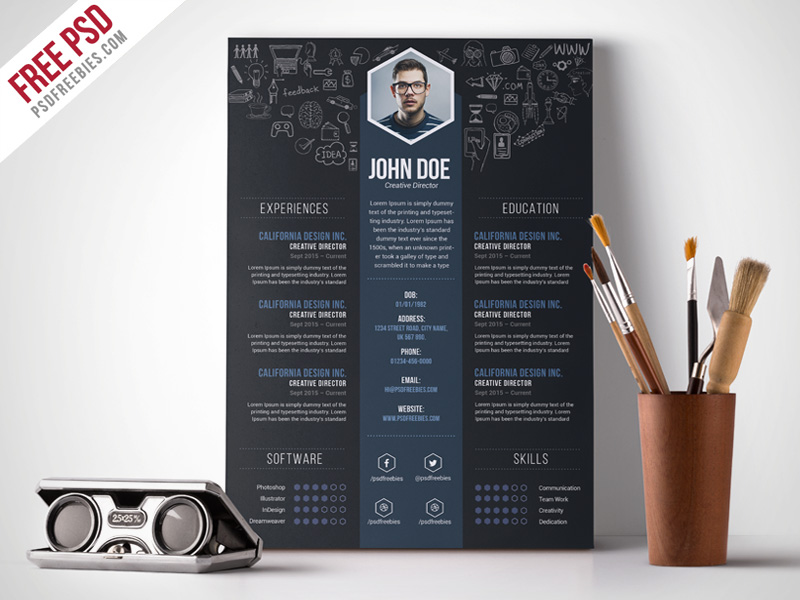 Free Creative Designer Resume Template PSD - Great free creative resume template (psd id)