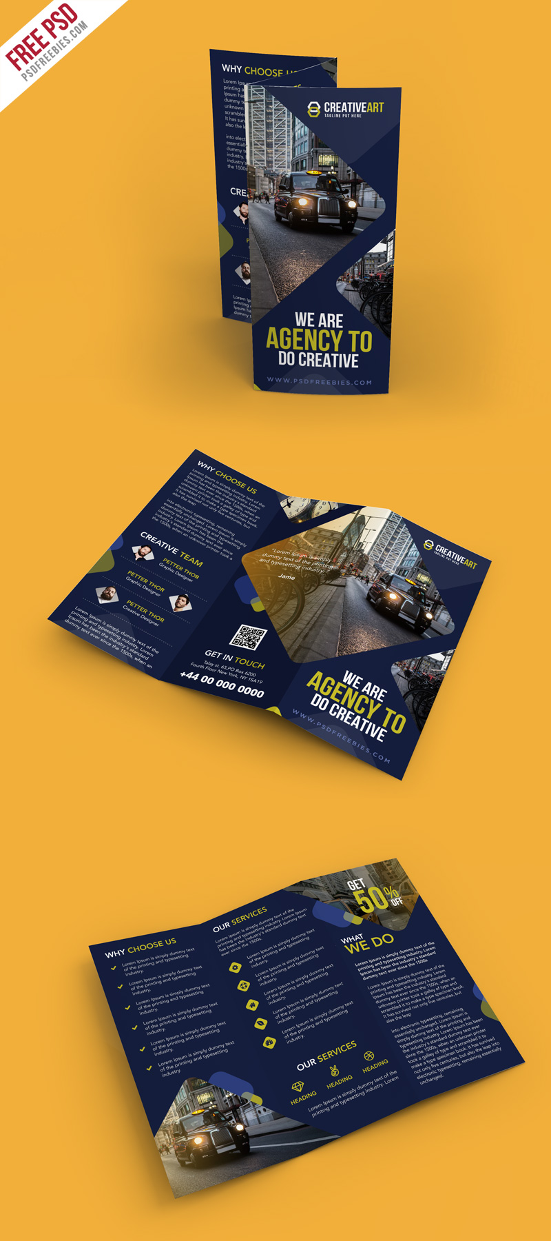 Multipurpose Trifold Business Brochure PSD Template