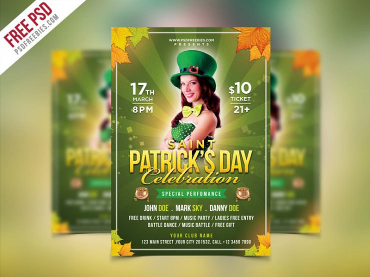 saint patrick u0026 39 s party flyer psd template