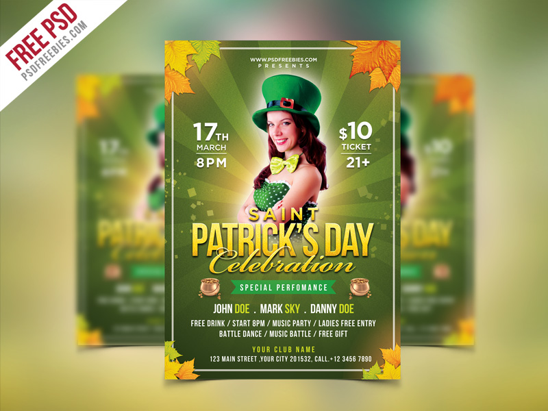 Saint Patrick's Party Flyer PSD Template