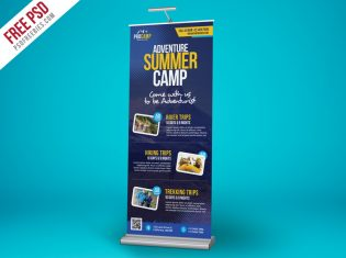 Adventure Summer Camp Roll-Up Banner PSD Template