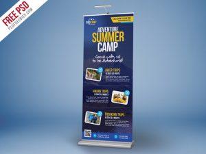 Adventure Summer Camp Roll-Up Banner PSD Template