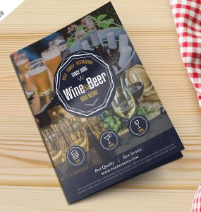 Beer and Wine Menu Bi-Fold Brochure Template PSD