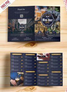 Beer and Wine Menu Bi-Fold Brochure Template PSD