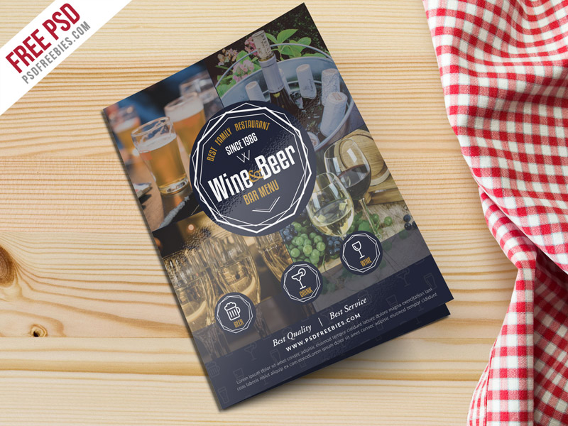Beer And Wine Menu Bi Fold Brochure Template Psd Psdfreebies