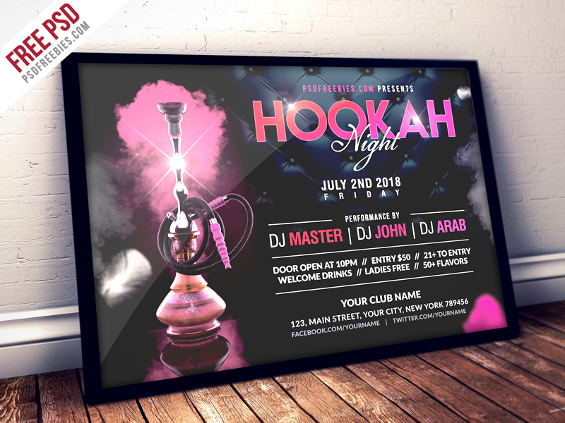 Hookah Night Party Flyer PSD Template