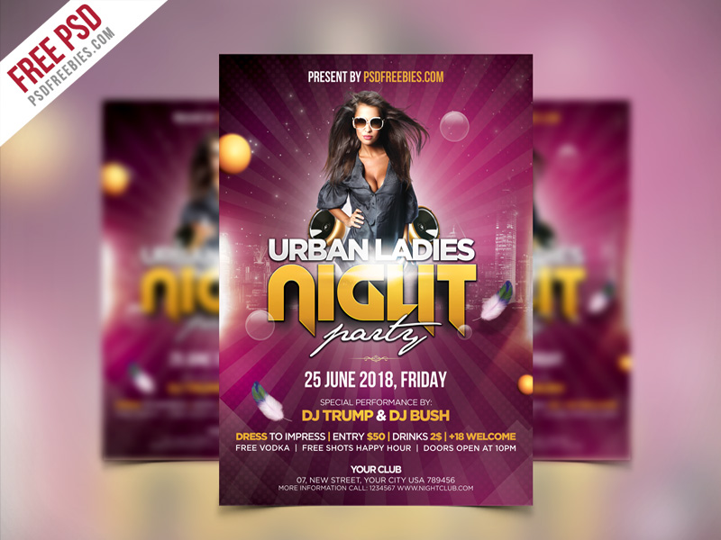 ladies night party flyer psd template psdfreebies com