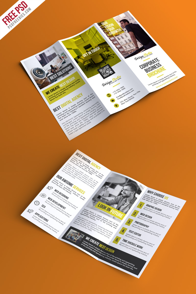 Professional trifold brochure psd template for Psd template brochure