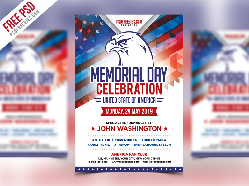 america memorial day event flyer template psd psdfreebies com