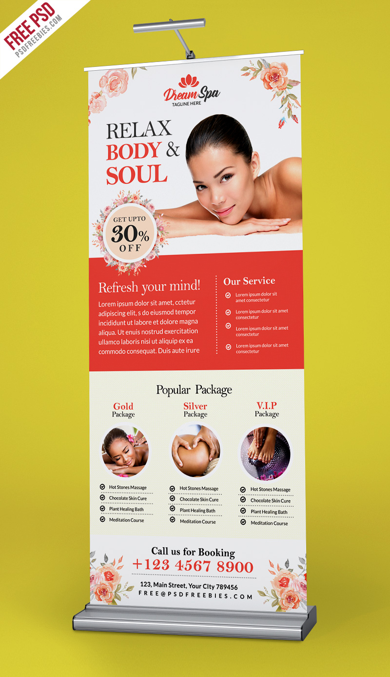 Beauty and Spa Roll-up Banner Template PSD