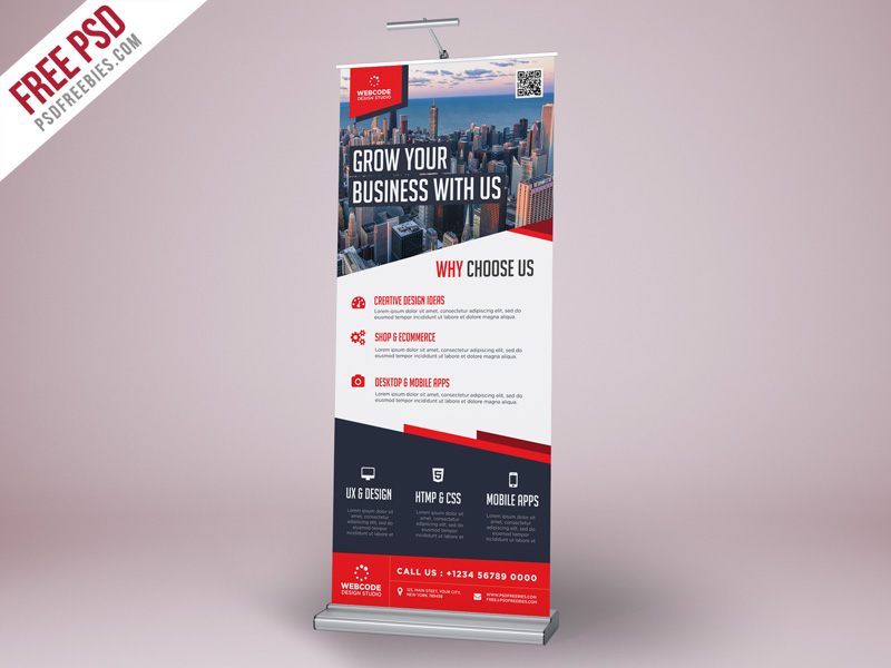 corporate advertisement roll up banner psd template. Black Bedroom Furniture Sets. Home Design Ideas