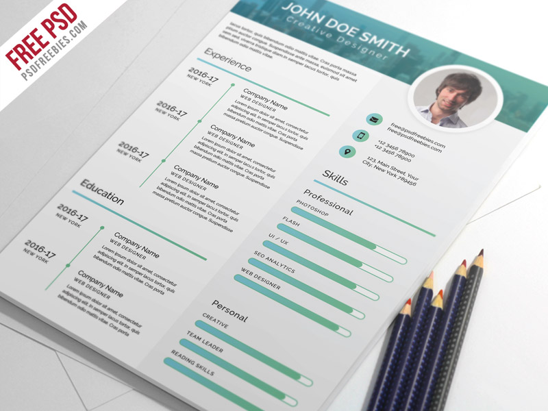 elegant and modern cv resume psd template