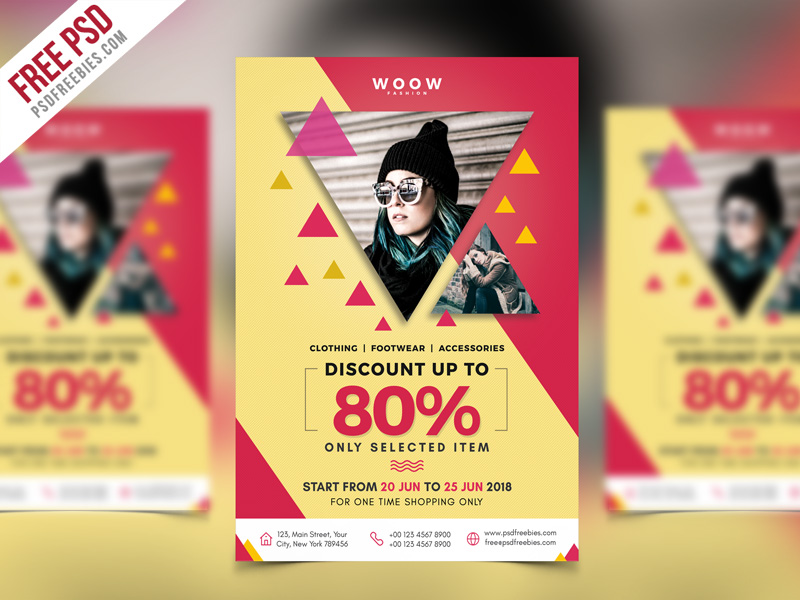 Fashion sale promotion flyer psd template for Fashion flyers templates for free
