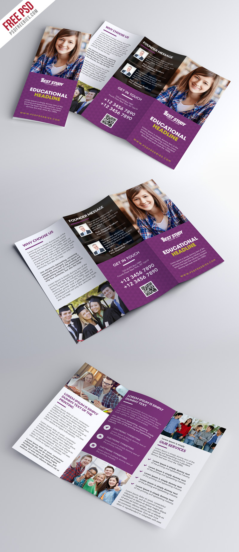 University College Trifold Brochure PSD Template