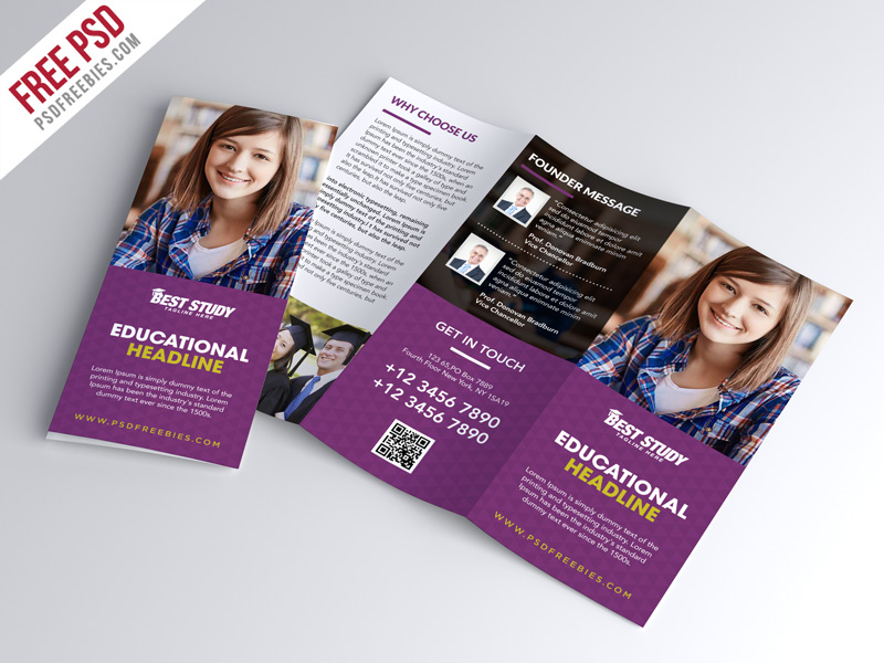 University college trifold brochure psd template for Brochure photoshop template