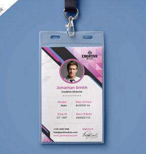 Company Photo Identity Card PSD Template