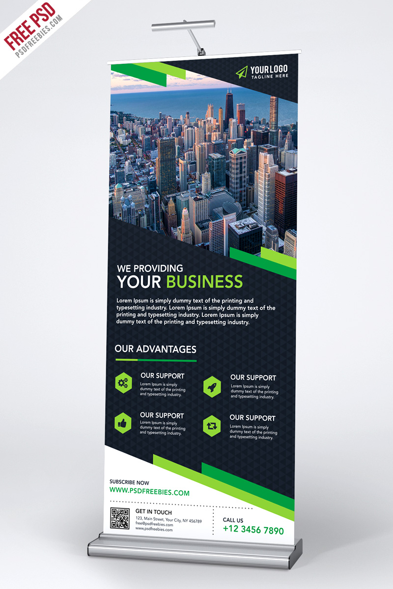 multipurpose creative roll up banner template psd