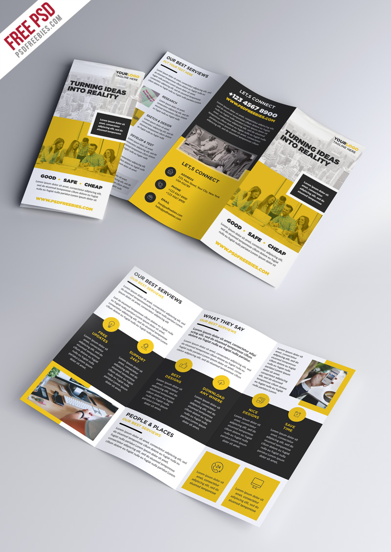Multipurpose tri fold brochure psd template for Psd template brochure