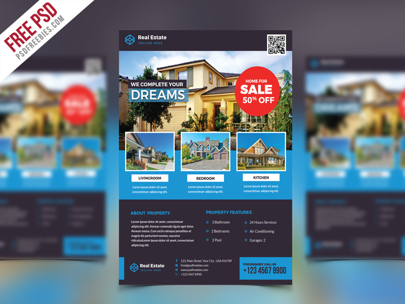 Real estate flyer psd free template for Real estate brochure templates psd free download