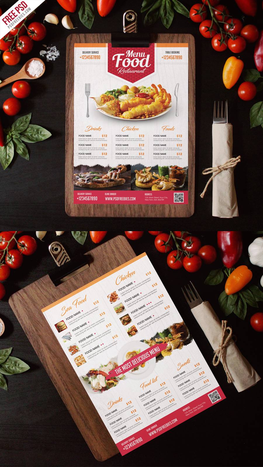 Simple Restaurant Food Menu Flyer Template PSD