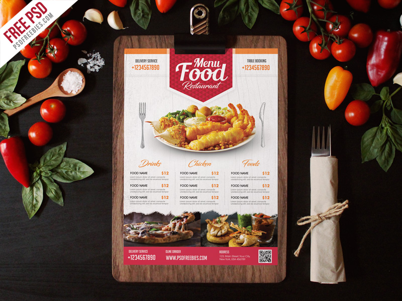simple restaurant food menu flyer template psd psdfreebies com