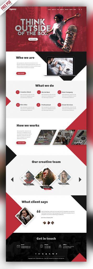 Agency Creative Website Template Free PSD