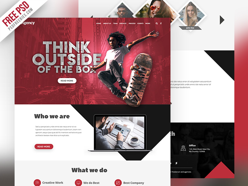 Agency Creative Website Template Free PSD
