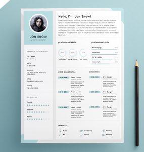 Clean Resume CV Template PSD Template
