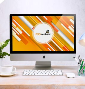 Free Apple iMac Workspace PSD Mockup