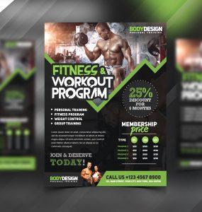 Gym Fitness Workout Program Flyer PSD Template