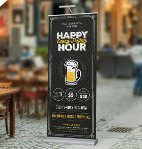 Happy Hour Promotion Roll Up Banner PSD Template
