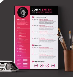 Modern Resume CV Template Free PSD