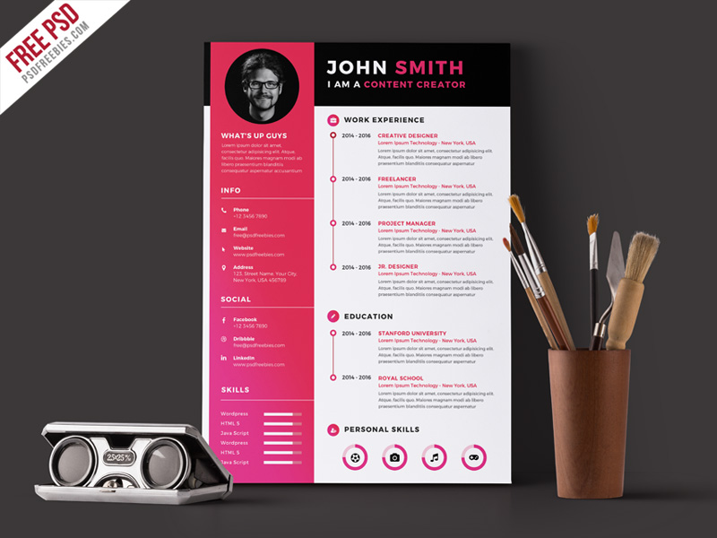 modern resume cv template free psd. Black Bedroom Furniture Sets. Home Design Ideas