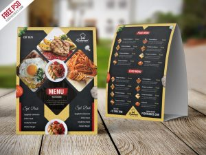 Restaurant Menu Table Tent Card PSD Template