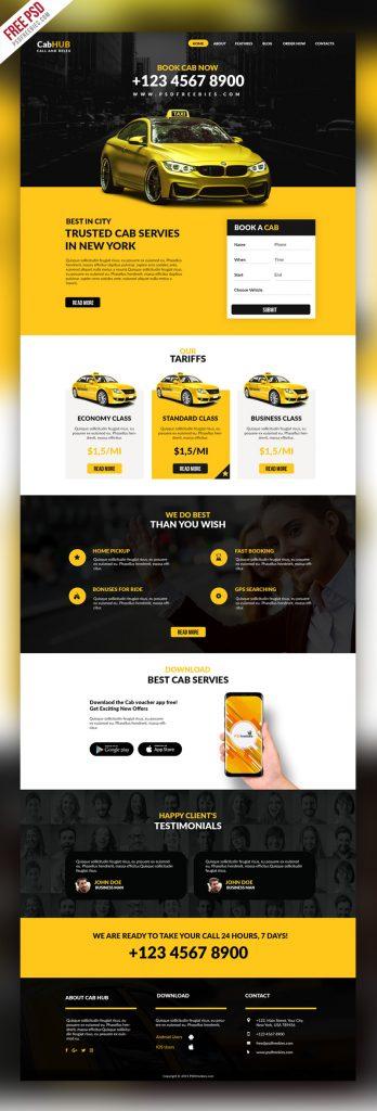 Taxi Cab Service Company Website Template PSD