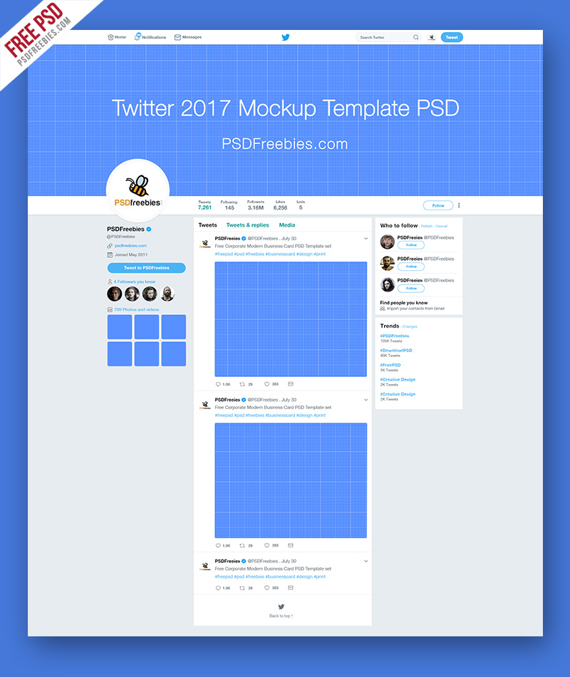 Twitter 2017 Mockup Template Free PSD