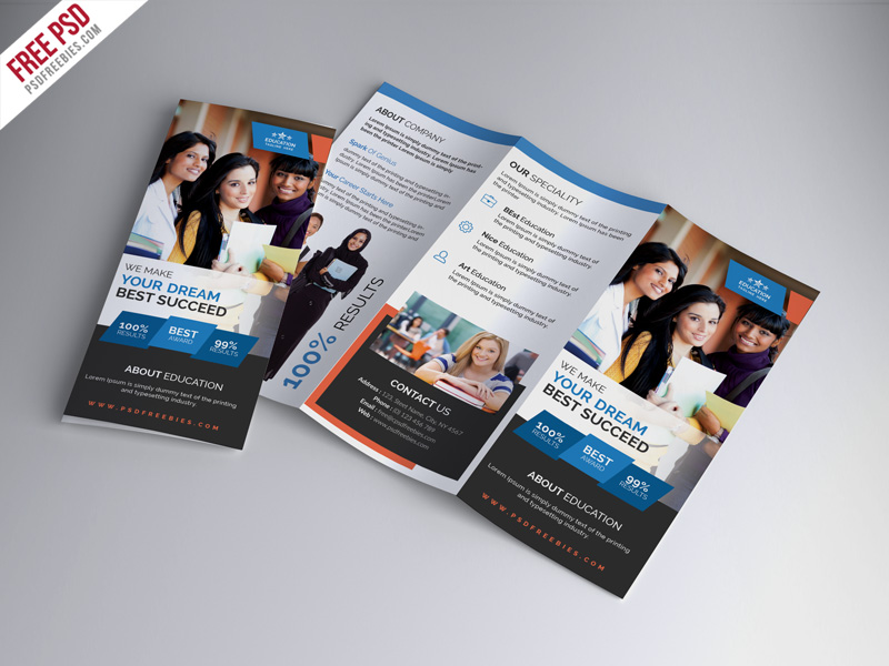 University education tri fold brochure psd template for Tri fold school brochure template