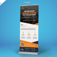 Advertisement Roll-Up Banner Free PSD
