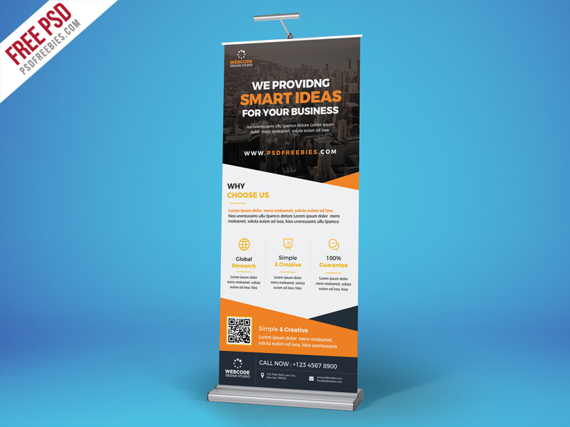 Advertisement Roll Up Banner Free PSD