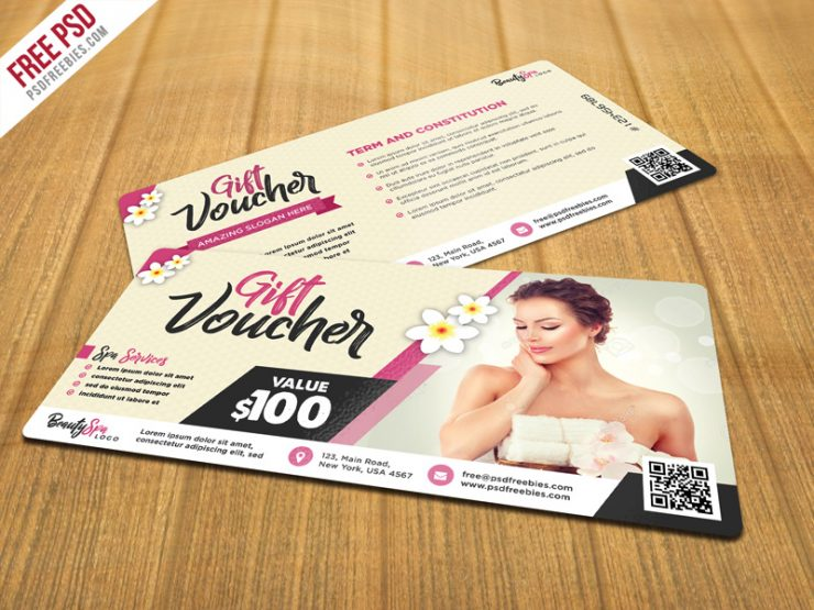 Beauty and Spa Gift Voucher PSD Template