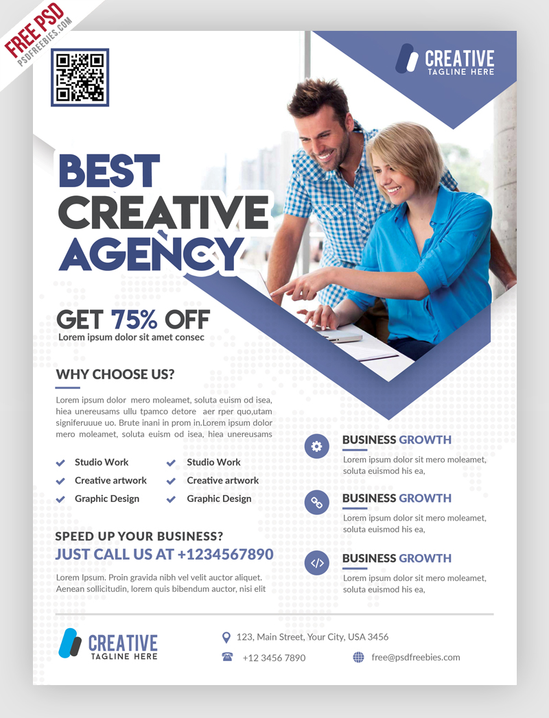 Business marketing flyer free psd template for Marketing brochure templates free