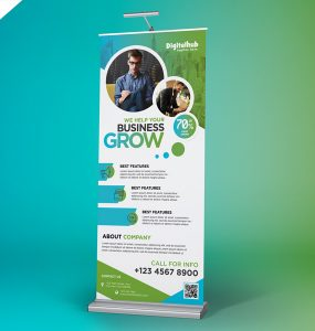 Business Promotion Roll-up Banner Template PSD