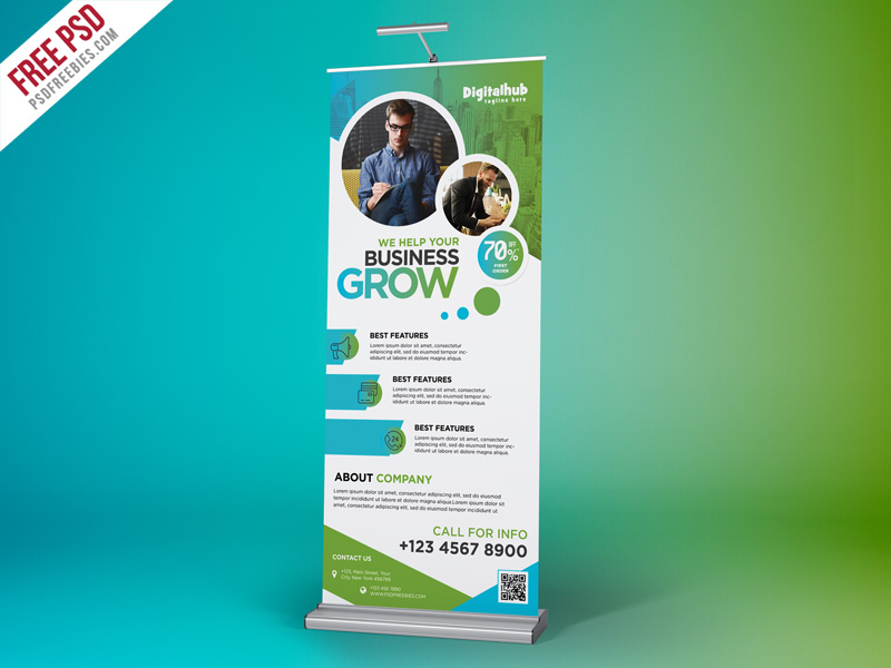 business promotion roll up banner template psd psdfreebies com